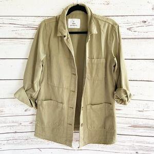 H&M &Denim Army Green Button Utility Coat Jacket